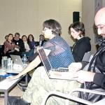 Cualla Ferrari, (miembro del comité de admisión de papers)_Heitor Alvelos (Heitor Alvelos,  Universidad de Porto /  Oporto, Portugal. Comité  científico bid_est), Lucía Peña Molatore (Universidad Anáhuac de  Querétaro, México) durante su presentación.
